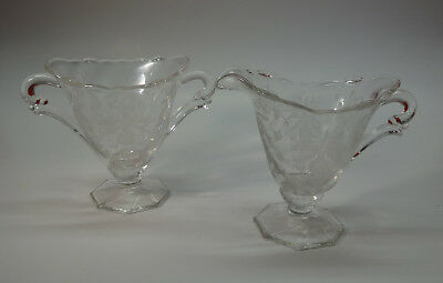 """Heisey Orchid Creamer and Sugar, Height 3 7/8"""""""