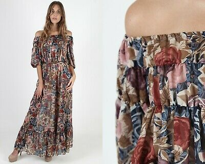 Vintage 70s Autumn Floral Dress Sheer Off Shoulder Boho Prairie Wedding Maxi