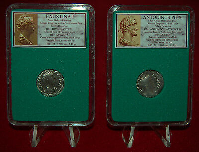 Ancient Roman Empire 2 Coins ANTONINUS PIUS + His Wife FAUSTINA I Silver Denarii