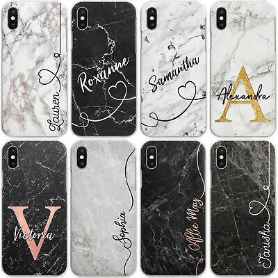 Personalised Marble Phone Case, Hard Cover For Samsung A- Custom Initials/Name