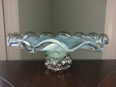 Vtg Lavorazione Arte Murano Hand Blown Glass Bowl Venetian Mint Green Amano M