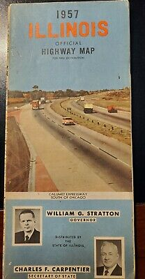 1957 Illinois State Official Highway Road Map