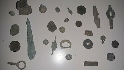 Lot Of 26 Bronze & Copper Roman, Bizantine & Moorish Unresearched Artifacts