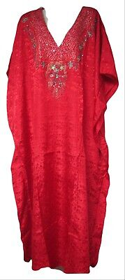 Vermont Country Store Red Caftan Dress with Naqui Label One Size