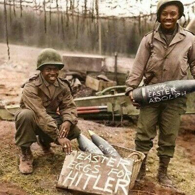 US African America Soldiers Invasion Colorized 1944  WW2  WWII Print 5 x 5