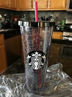 Fall 2019 Starbucks Spiderweb Glitter Tumbler Cup Limited Edition Halloween