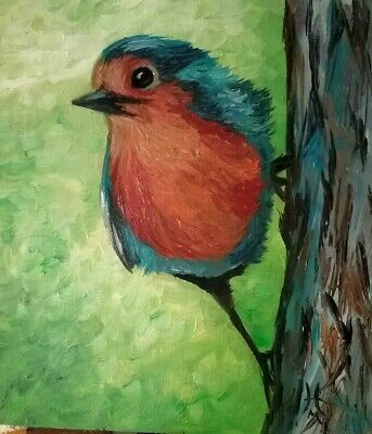Hand painted - Oil on wood - Original painting - Direct sales artist - Robin 4