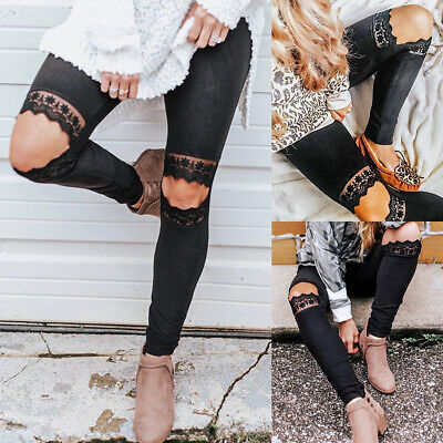 Womens Stretch Skinny Ripped Leggings Lace Casual Pencil Trousers Jeggings Pants