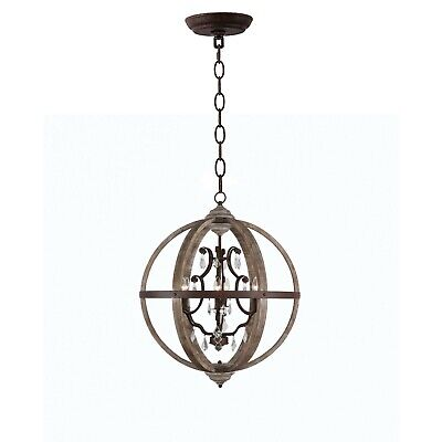 Halen Elton Rustic farmhouse french country style crystal wood ORB Chandelier