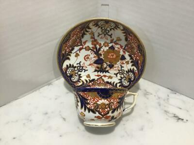 Antique c 1800 Derby (Royal Crown Derby) King's Imari Cup & Saucer, Gold Trim