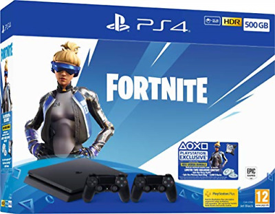 PS4-Sony Playstation 4 Slim 500Gb With Fortnite Neo Versa And Extra Dualsh NUOVO