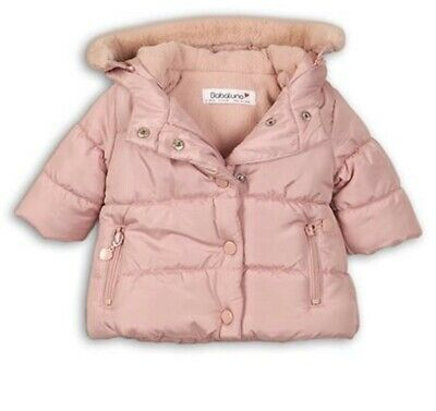 Minoti / Babaluna Baby Girls Padded Jacket With Faux Fur Trim Hood