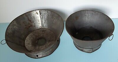 2 Antique Tin Sieve/Sifter/Strainers Fine Mesh Screen Rustic Primitive Vintage