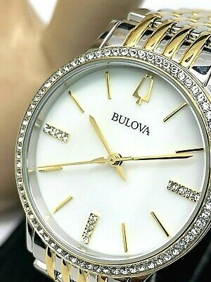Bulova 98X118 Women's Crystal Accent Two Tone Bracelet 32mm Watch + Necklace Set