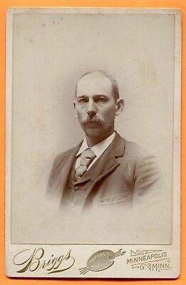 Minneapolis, MN, Portrait of a Young Man, by Briggs, circa 1890s Backstamp