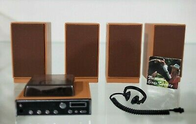 Tomy smaller homes and garden dollhouse accessories stereo speaker turntable set