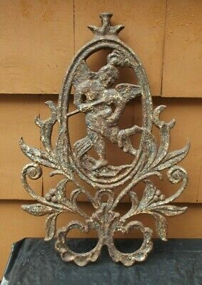 Antique Cast Iron  Victorian Art Deco Cherub Architectural Fence Top Plaque