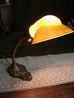 Antique Ovalite Art Deco Cast Iron Gooseneck Desk Lamp Ribbed Gold Glass Shade