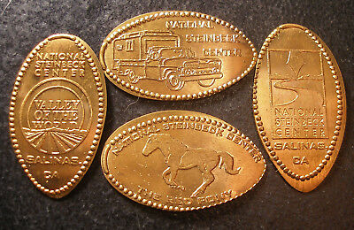 Salinas,Ca. - National Steinbeck Center - Four Retired Copper Elongated Pennies