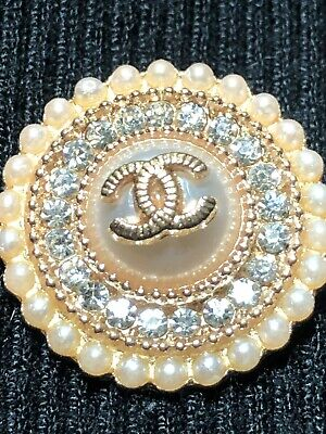"CHANEL CC  PEARL GOLD Medallion RHINESTONES 23mm BUTTON .75"" New!"