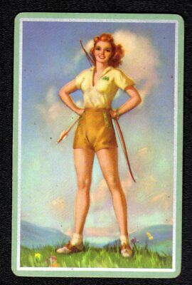 Vintage Swap/Playing Card - Archer Girl