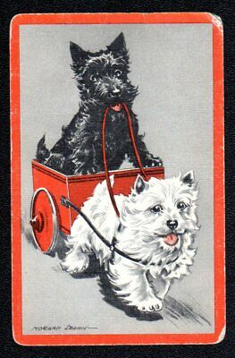 Vintage Swap/Playing Card - Cute Terriers signed (LINEN)