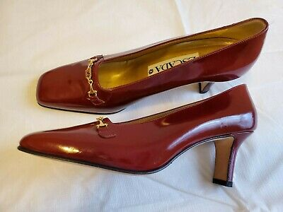 ESCADA PUMP PATENT Leather Mauve Point Toe Shoes Kitten Heel