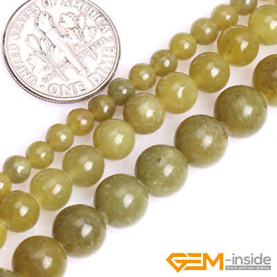 A Grade Natural Yellow Olive Jade Gemstone Round Spacer Beads For Jewelry Making