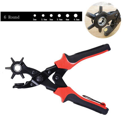 Heavy Duty Strap Leather Hole Punch Hand Plier Belt Punch Revolving 6 Round New