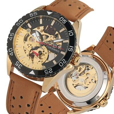 Casual Mens Automatic Mechanical Wrist Watches Leather Band Military Sport