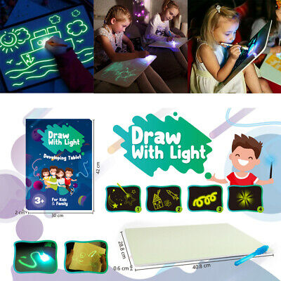 4 IN 1 A3 Draw With Light Fun Developing Toy Magic Educational Drawing Board Kit