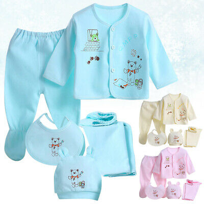Baby Newborn Clothes Hat, Bib, Tops Wrapped, Feet Cover Pants, Trousers Outfits