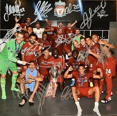 """Liverpool FC Super Cup Photo 10""""x10"""" Hand Signed By 14"""