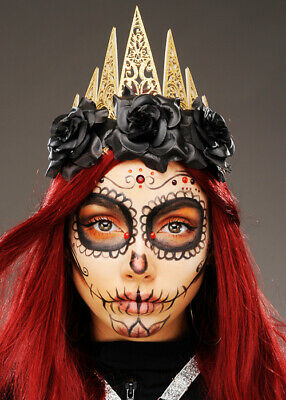 Day of The Dead Gold Glitter Crown Flower Headpiece
