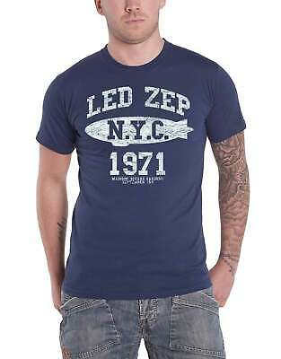 Led Zeppelin T Shirt NYC 1971 Blimp Band Logo new Official Mens Navy Blue