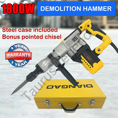 1800W Electric Demolition Jack Hammer Jackhammer Rotary Concrete Drill Chisel