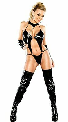 Wet Look Teddy Lingerie With Chain And Gloves Saucy Role Play Gothic dominatrix