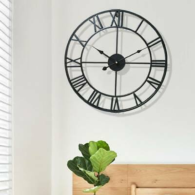 Metal Round Skeleton Roman Numeral Modern Home Kitchen Wall Clock Art Decor 40cm