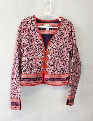 Girls Monsoon Boho Hippie Jacket Red Navy Blue Floral Quilted Age 4-6 Years