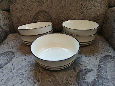 Set of FIVE Denby ENGLAND Sahara Soup / Cereal Bowls - EXC Condition