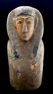 Egyptian Antique Wooden Mask Ancient Egypt Pharaoh Figurine Mummy Bead Rare Bust