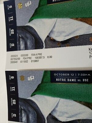 Two tickets 225$ each to Notre Dame vs. USC Football Game at Notre Dame Stadium
