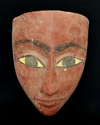 Very Unique Wooden Mask Ancient Egyptian Antique Civilization Bust Mummy Bead