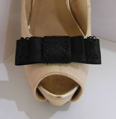 2 Black Triple Bow Clips for Shoes with Filigree Edge