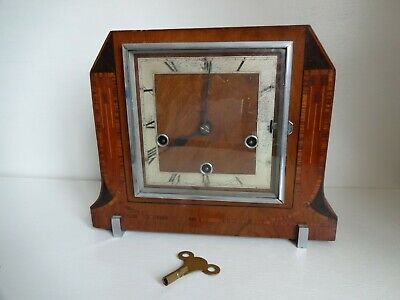 Vintage Enfield Art Deco Wind Up Mantle Clock With Key For Repair