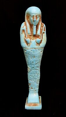 Blue Pasmatic Ushabti W/T Hieroglyphics Ancient Egyptian Antiques Shabti Statue