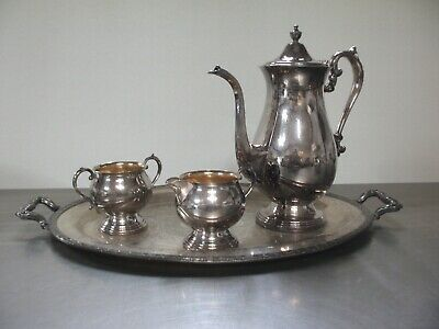 Sheridan silver on copper Tea ..set 3 pc and Tray