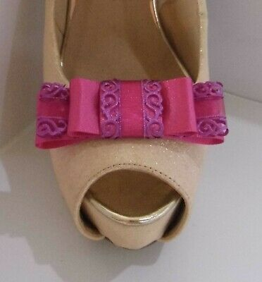 2 Magenta Pink Triple Bow Clips for Shoes with Filigree Edge