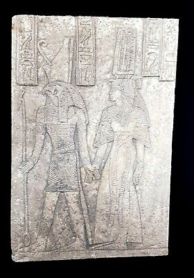 Rare Hieroglyphic Egyptian Antique Isis & Horus Relief Wall Craft Plaque Stela
