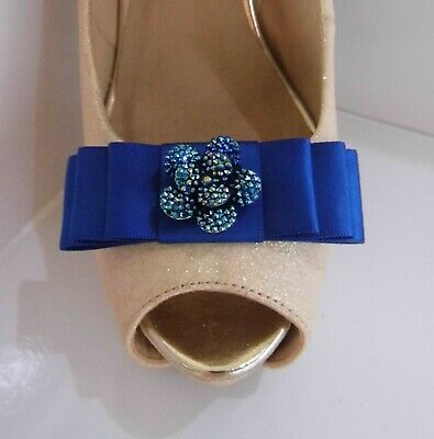 2 Royal Blue Satin Bow Clips for Shoes with Small Two Tone Flower Centre